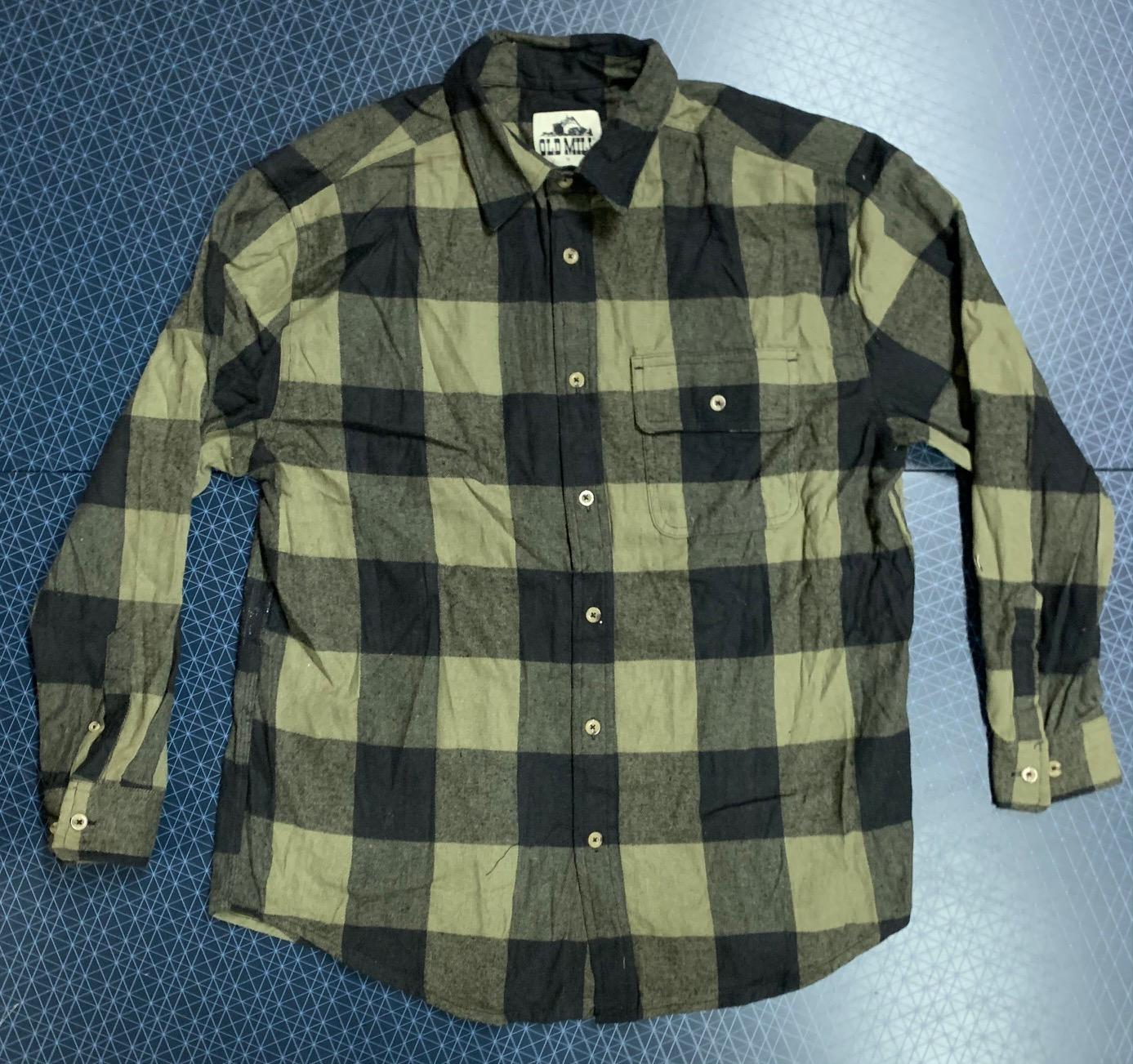 Рубашка мужская OLD MILL в оливково-черную клетку