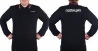 """Рубашка-поло с длинным рукавом и надписью """"Полиция"""""""