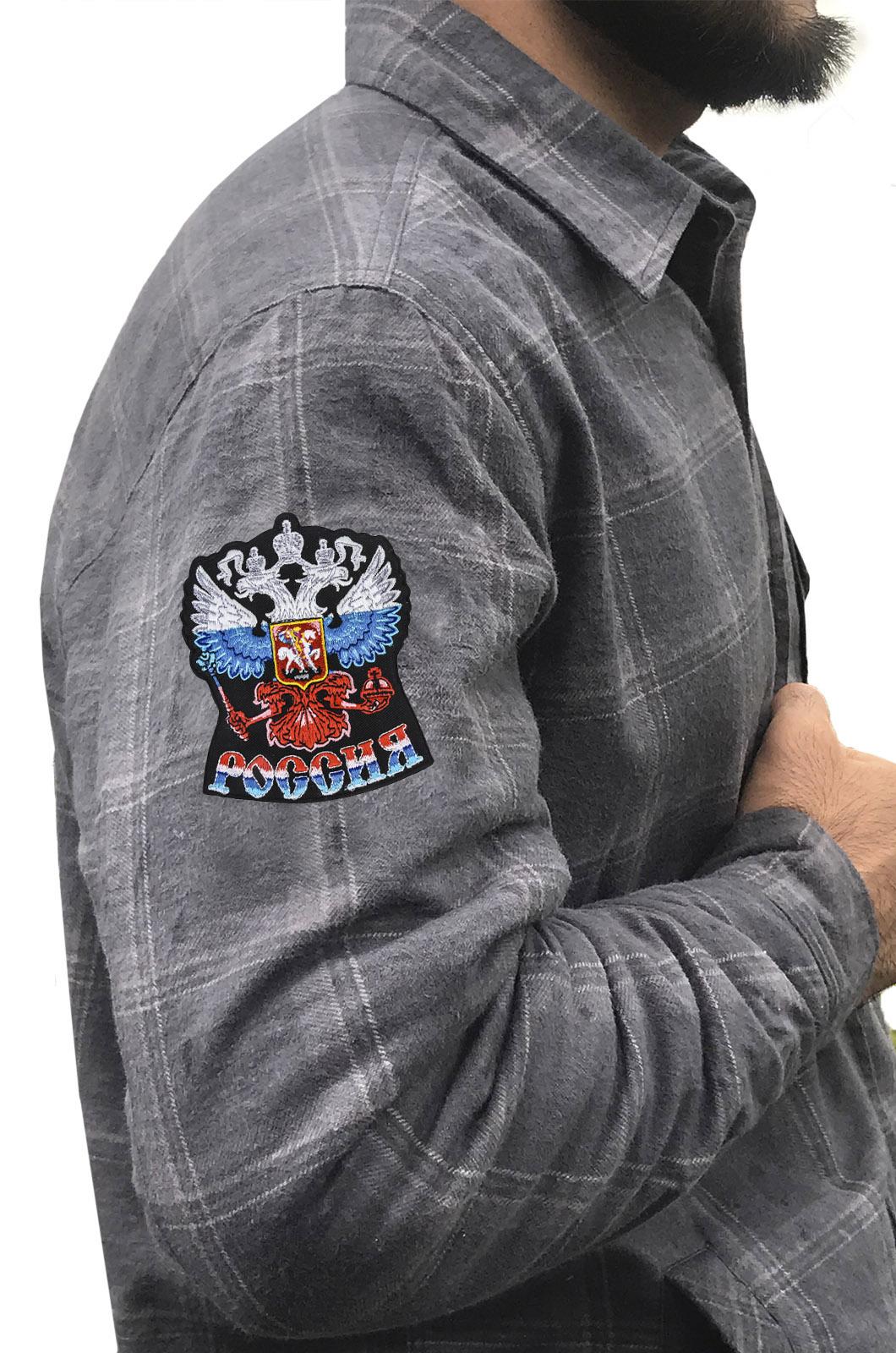 Зимняя мужская рубашка с шевроном «Россия»