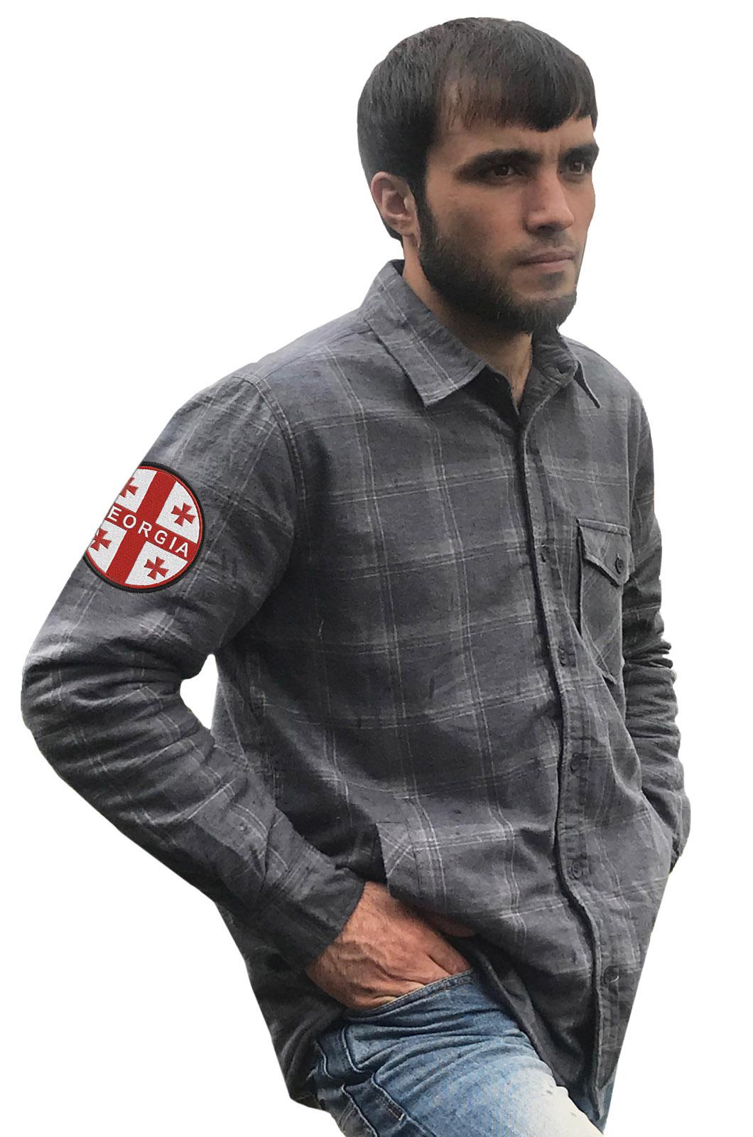 Рубашка теплая мужская с вышитым шевроном Грузия