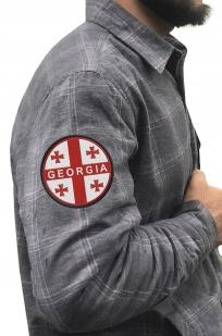 Рубашка теплая мужская с вышитым шевроном Грузия - купить в розницу