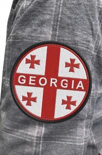 Рубашка теплая мужская с вышитым шевроном Грузия - купить в Военпро