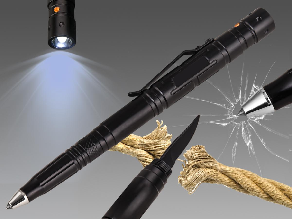 Универсальный подарок! Тактическая ручка-нож-фонарик-стеклобой.