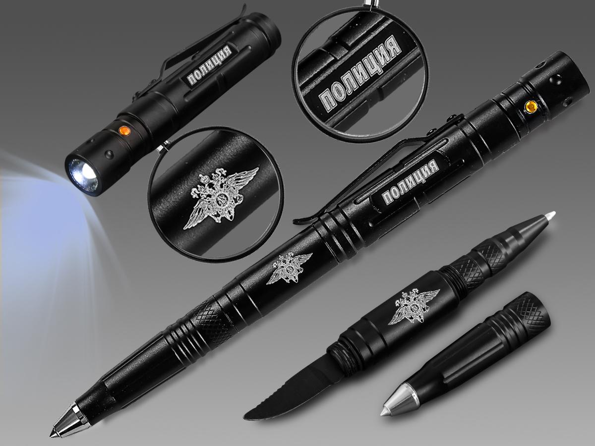 Тактическая ручка фонарик с ножом и стеклобоем – подарок для Полиции России