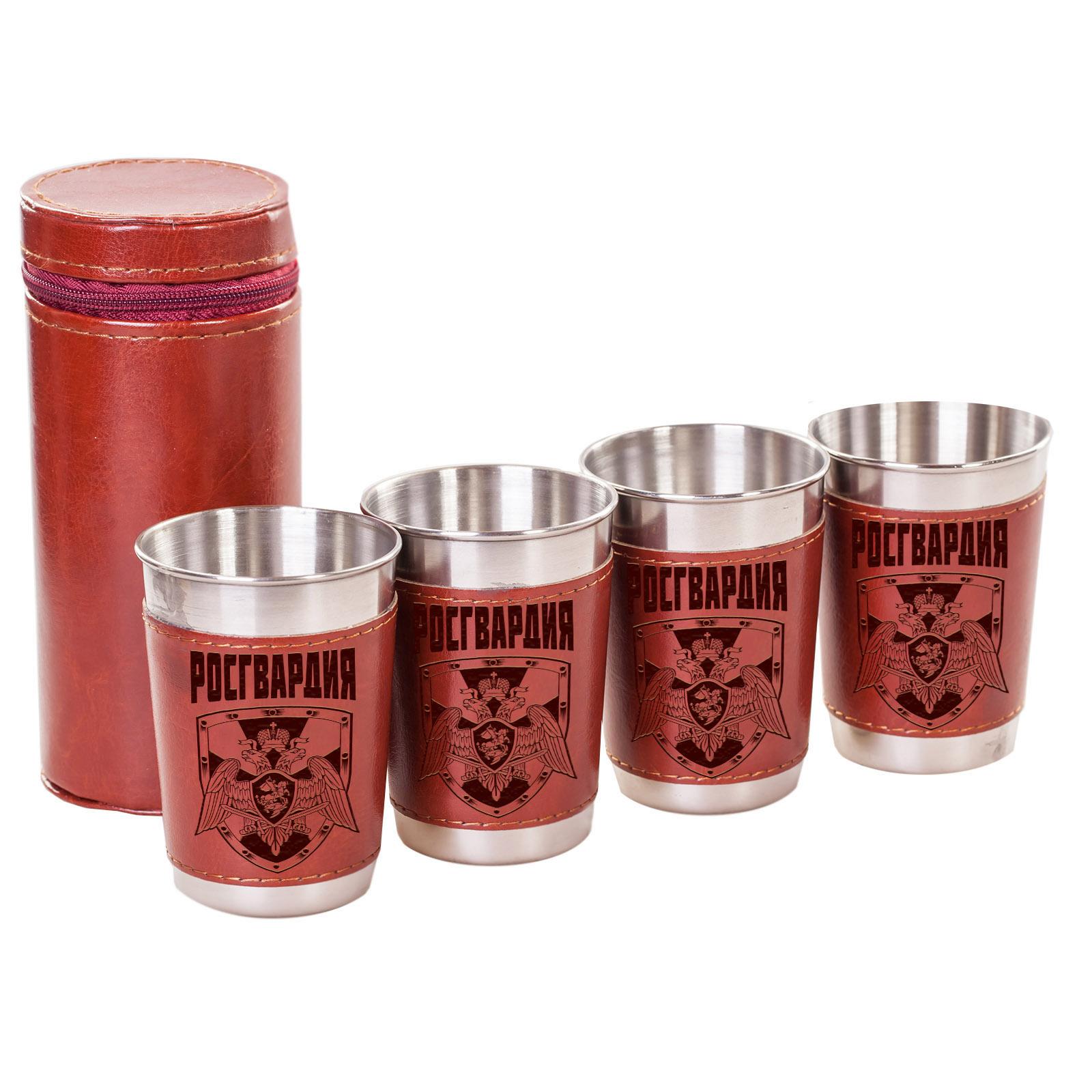 Набор сувенирных стаканов в кожаном чехле
