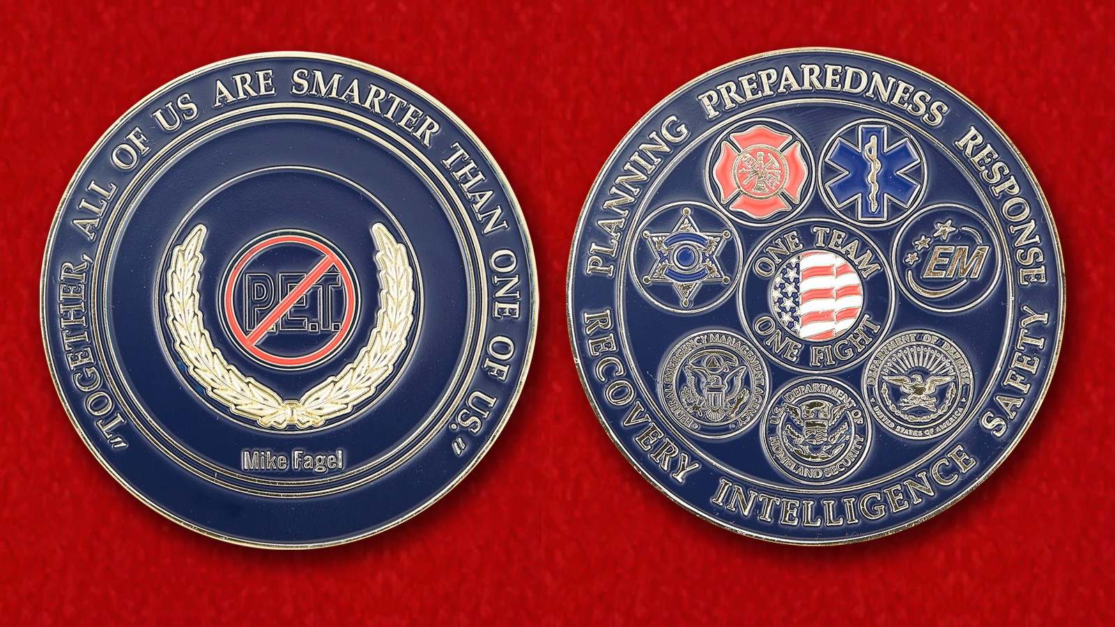 Safety Security Threat Consultant Mike Fagel Challenge Coin - both sides