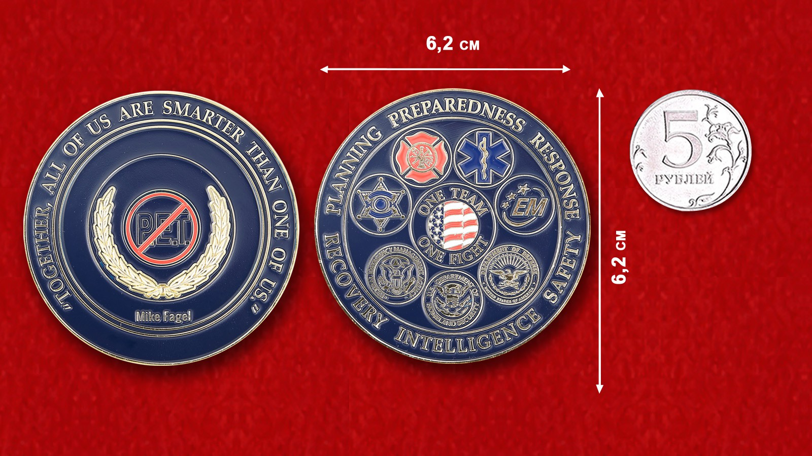 Safety Security Threat Consultant Mike Fagel Challenge Coin - linear size