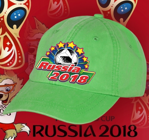 Салатовая фанатская бейсболка RUSSIA