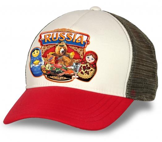 """Самая модная бейсболка """"Russia"""" с национальными символами. Комфортная модель с сеткой. Выбирайте лучшее!"""