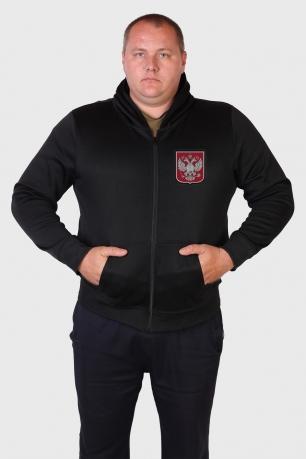Сдержанная милитари толстовка с символикой России.