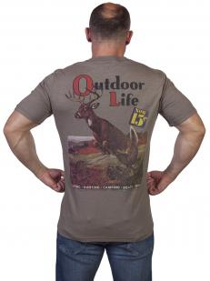 Серая мужская футболка Outdoor life. - купить оптом