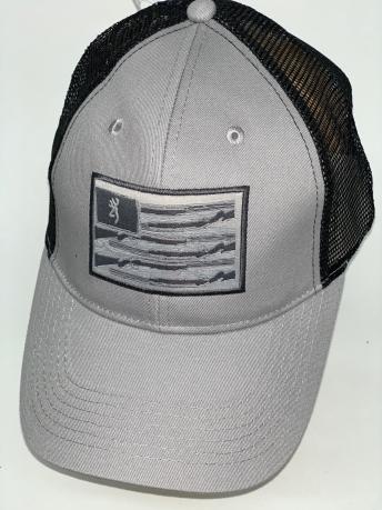 Серая бейсболка Browning с прямоугольной нашивкой и черной сеткой
