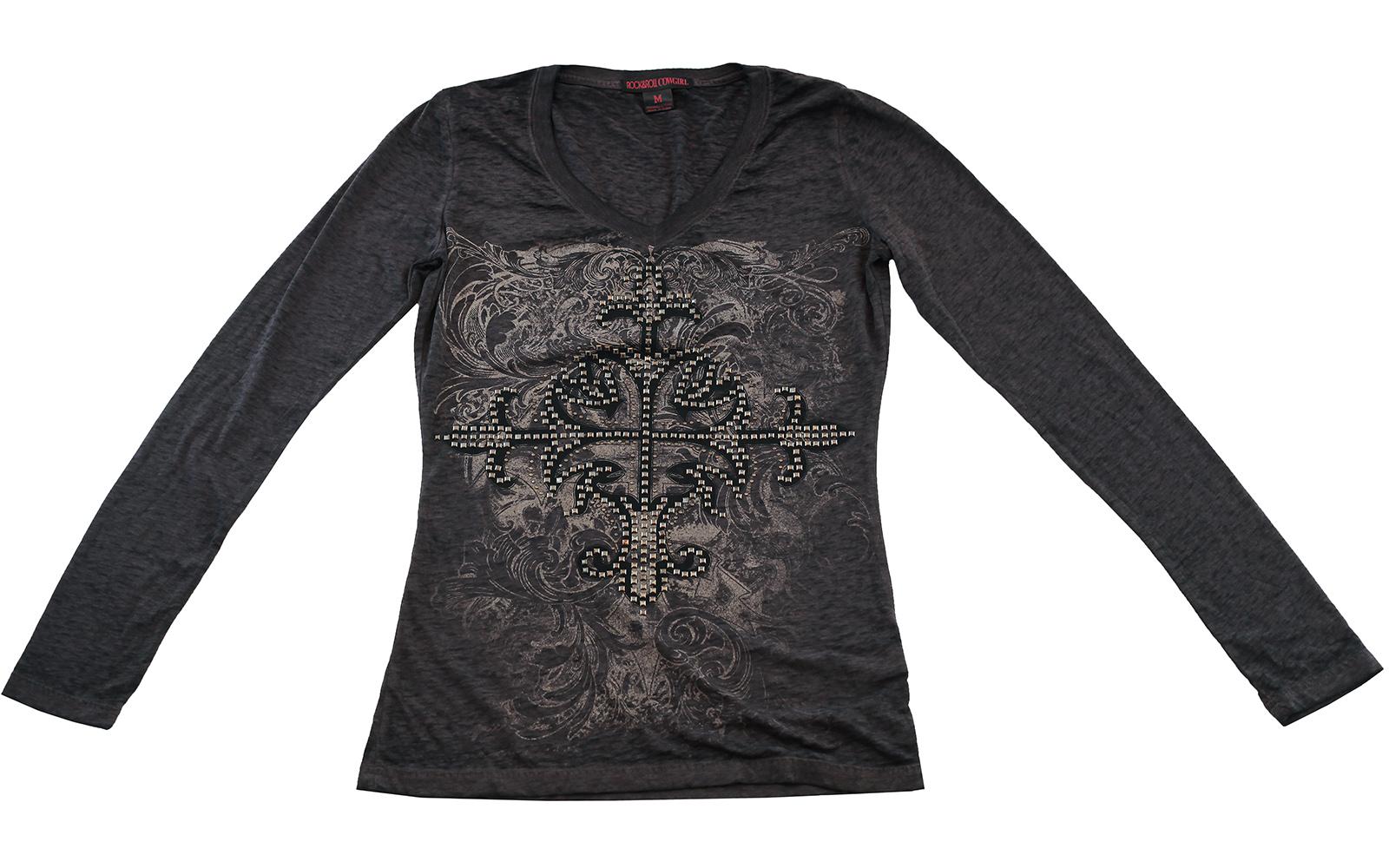 Серая кофточка Rock&Roll CowGirl с оригинальным принтом. Модная и удобная модель