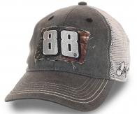 Серая котоновая бейсболка с автографом и символикой самого популярного гонщика серии NASCAR – Дэйла Эрнхардта-младшего