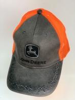 Серая летняя бейсболка John Deere с оранжевой сеткой