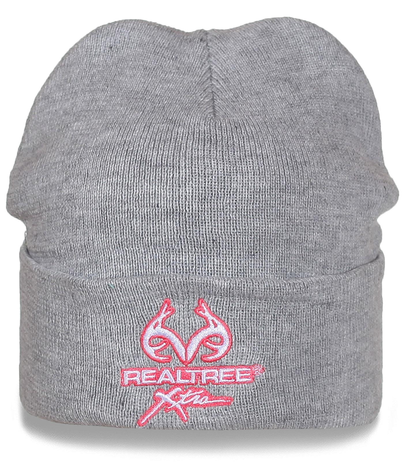 Серая шапка Realtree с подворотом