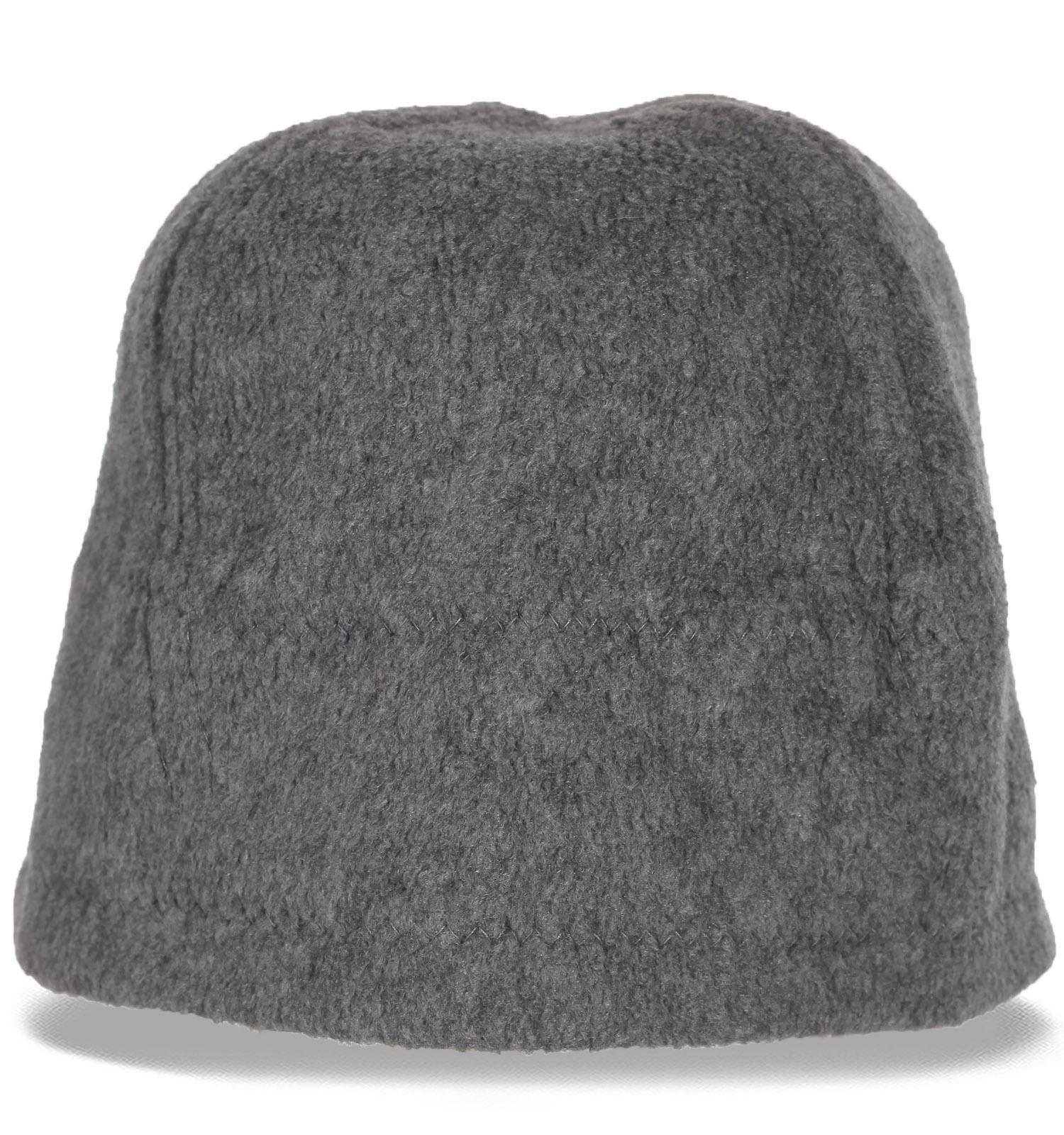 Серая мужская зимняя флисовая шапка утепленная флисом. Теперь Вам не страшна ни метель, ни ледяной ветер