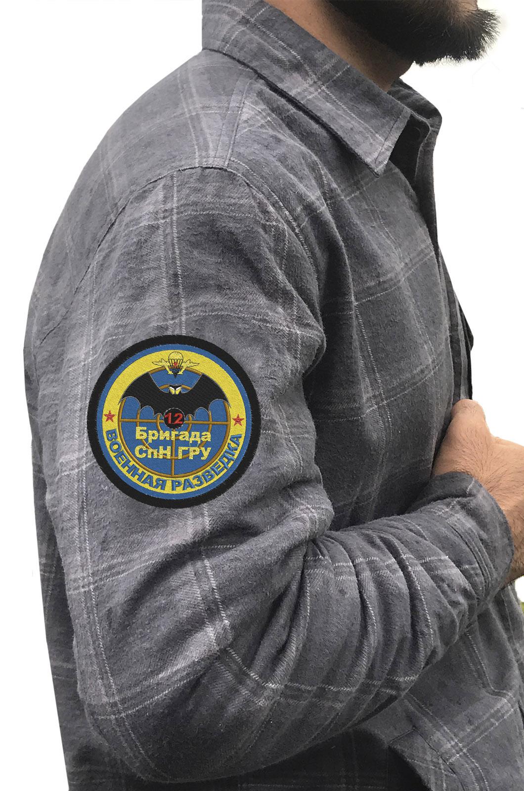 Серая рубашка с нашивкой  ГРУ 12 бригада СпН купить в подарок