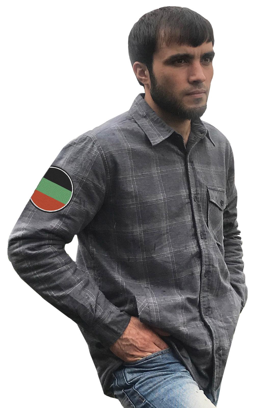 Серая теплая рубашка с вышитым флагом Терского Войска