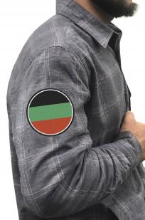 Серая теплая рубашка с вышитым флагом Терского Войска - куупить по низкой цене