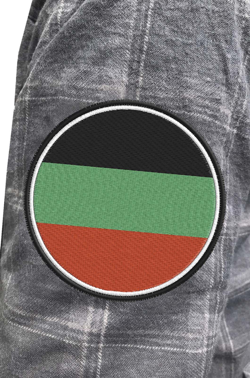 Серая теплая рубашка с вышитым флагом Терского Войска - купить оптом