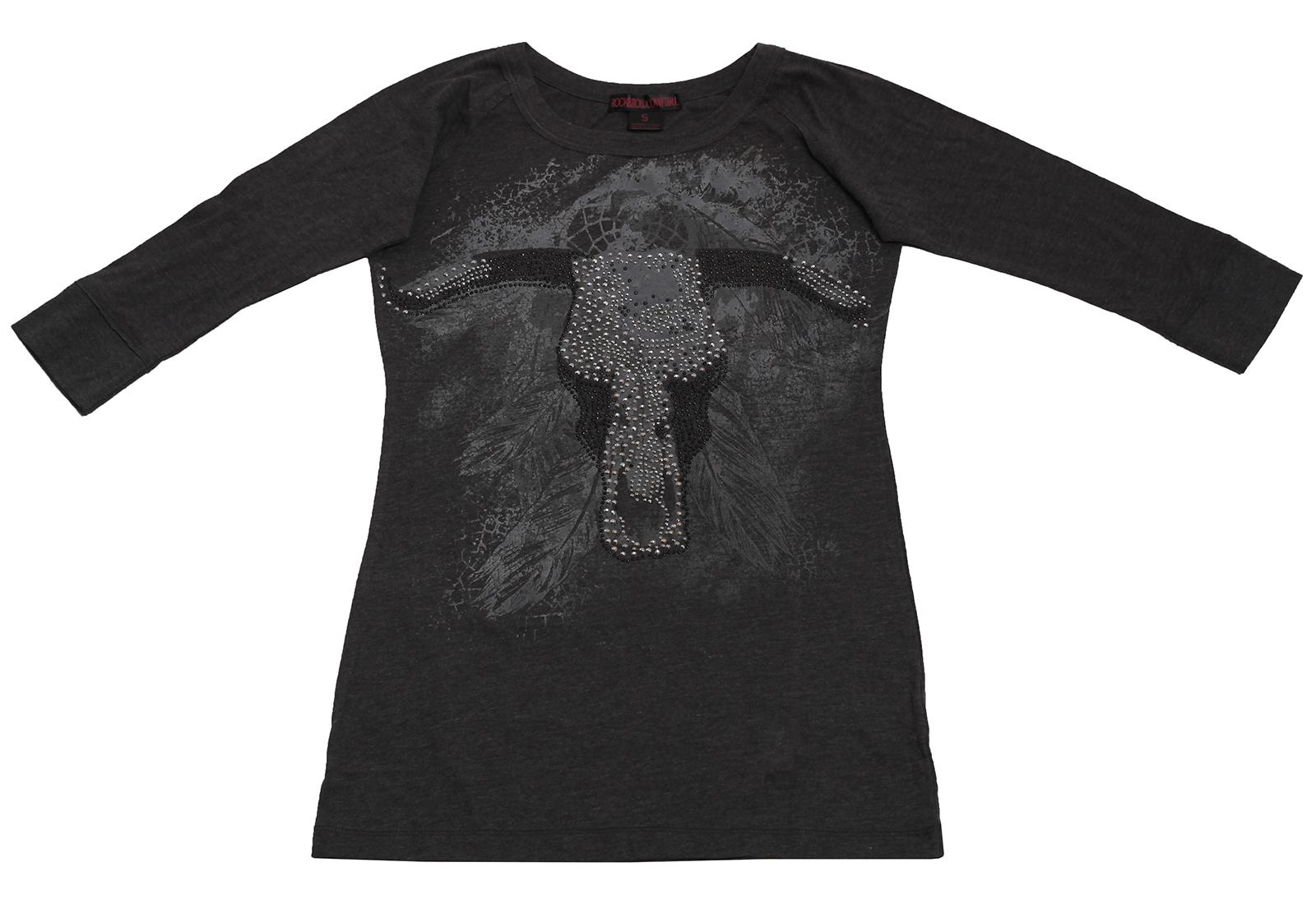 Серая туника стильного вида Rock&Roll CowGirl с принтом черепа буйвола со стразами