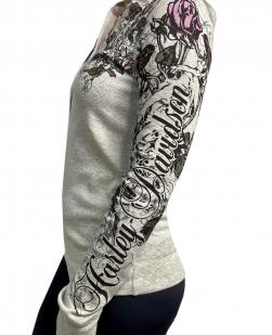 Серая женская кофта Harley-Davidson с капюшоном
