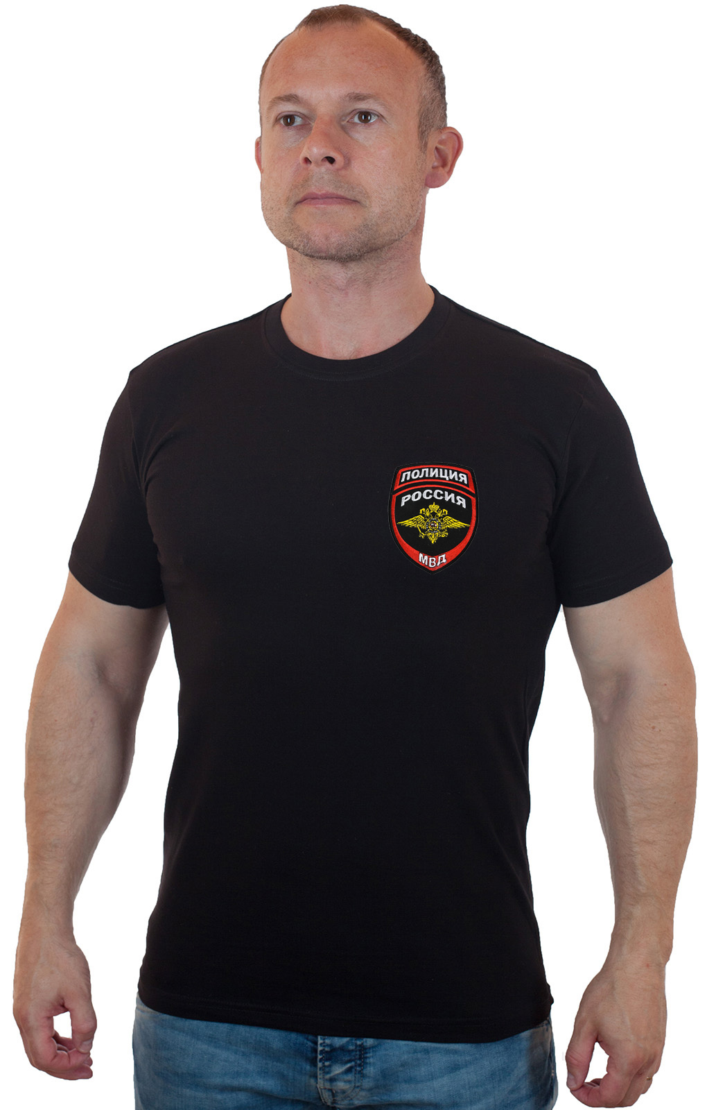 Черня футболка полицейского