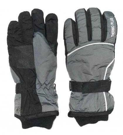Серо-черные зимние перчатки с манжетами