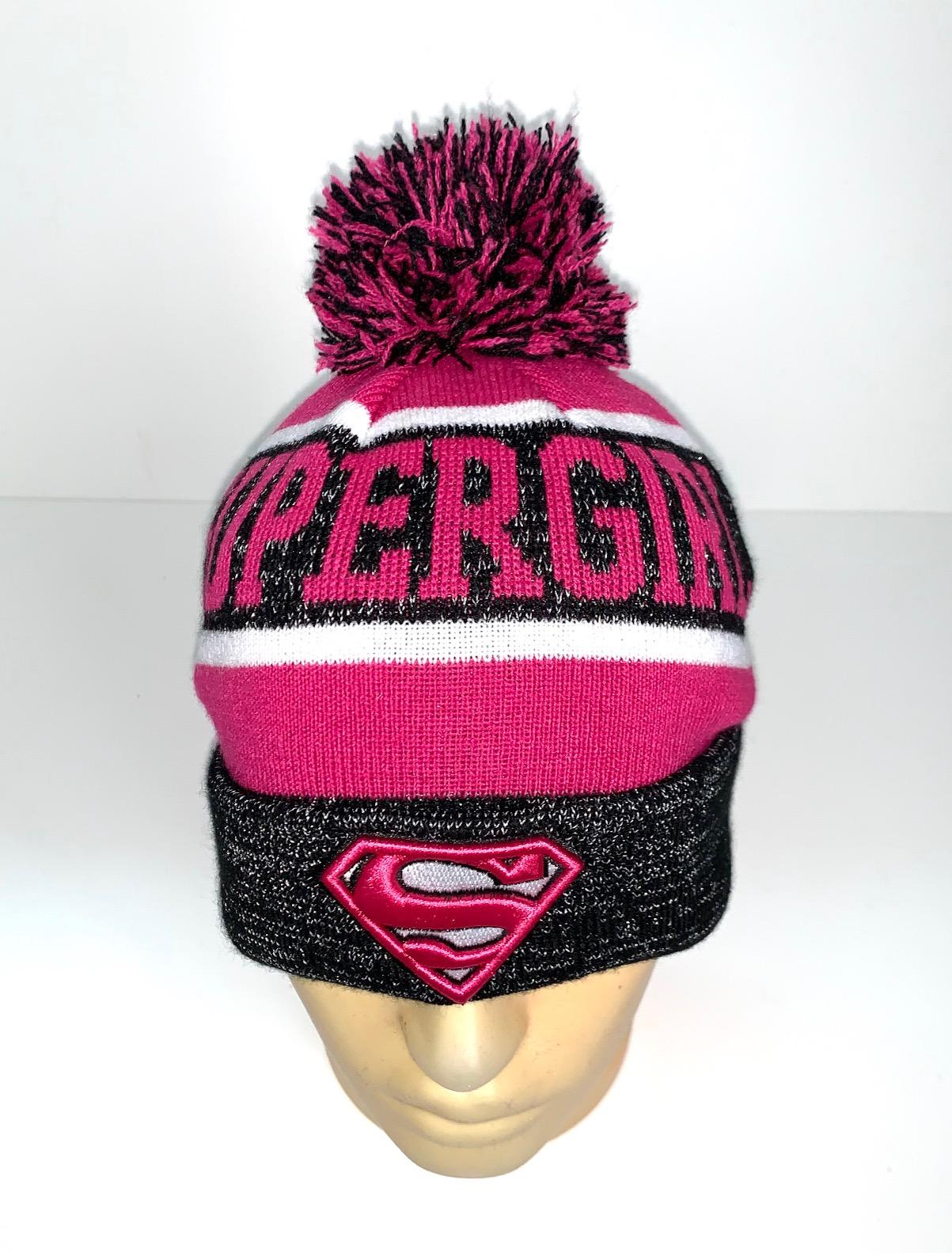 Серо-розовая шапка Supergel с помпоном