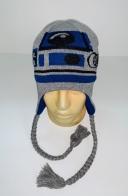Серо-синяя шапка с косами