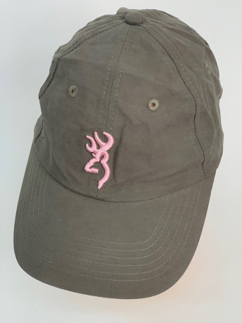 Серо-зеленая бейсболка Browning с розовой вышивкой