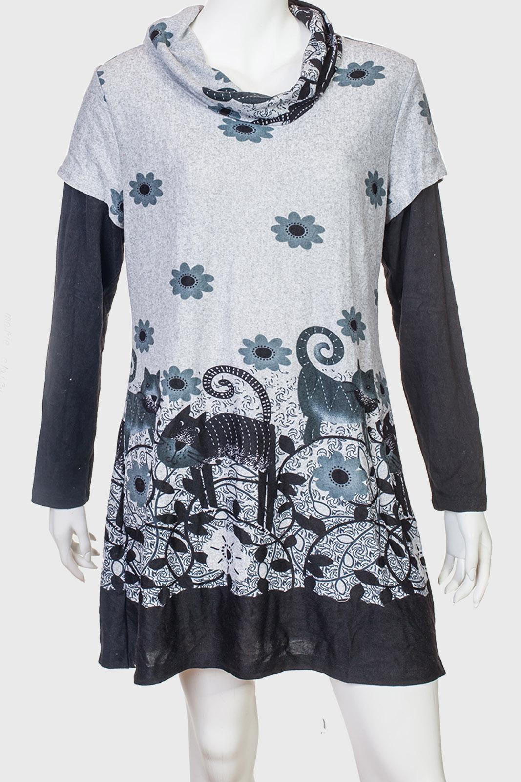 Серое очаровательное платье с милым рисунком от Marie Claire