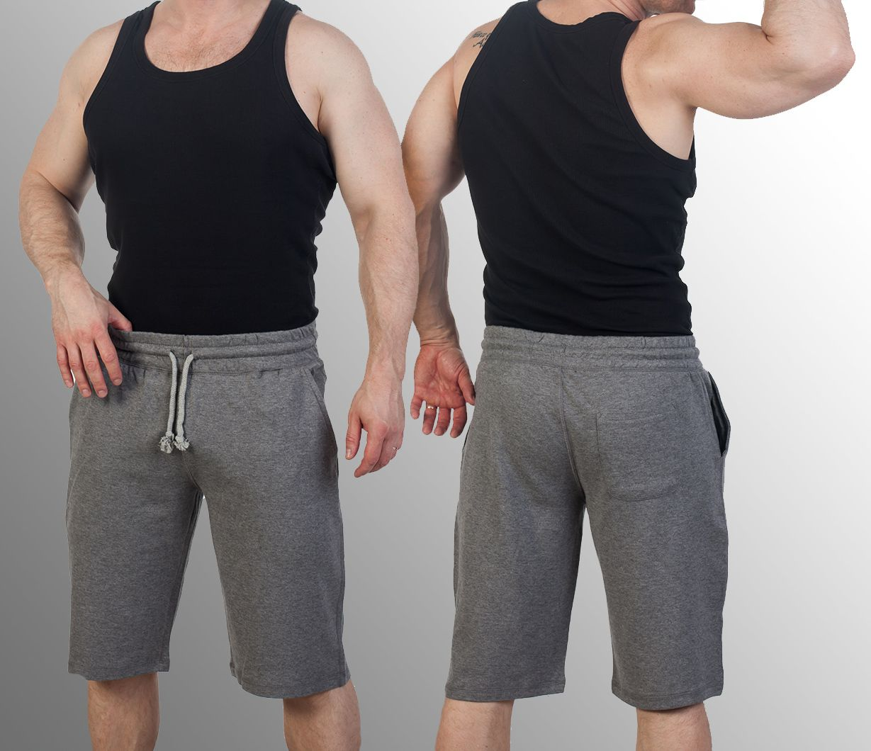 Серые мужские шорты (трикотаж, коллекция 2017)