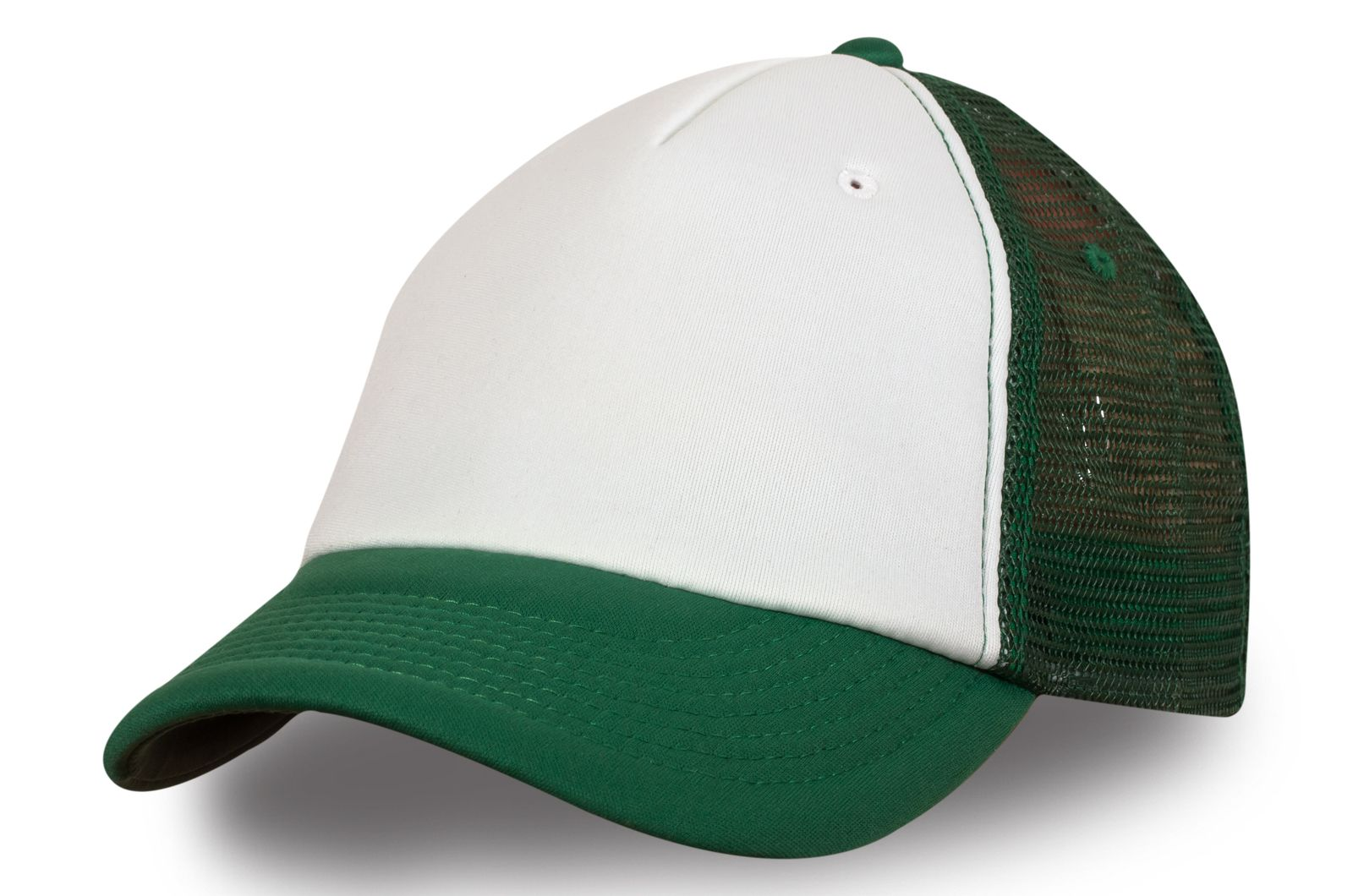 Сетчатая бейсболка бело-зелёная   Купить сетчатые бейсболки
