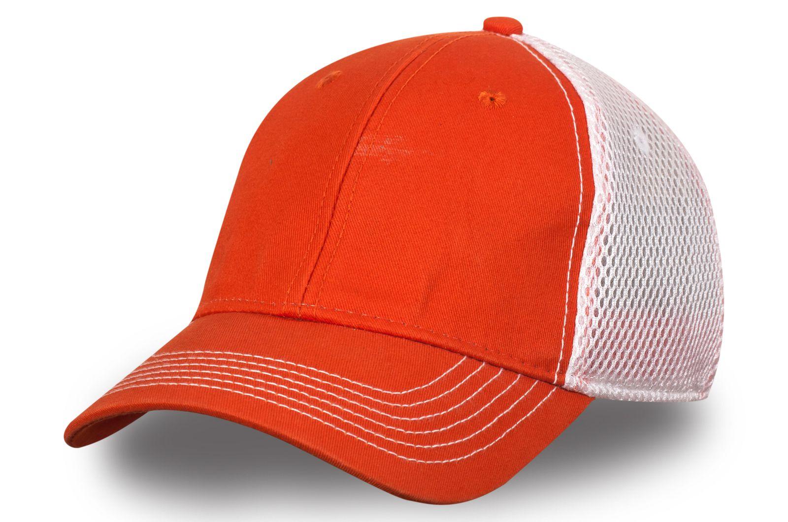 Сетчатая бейсболка оранжево-белая - купить недорого