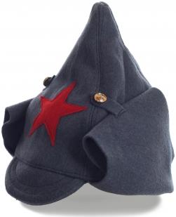 Шапка-буденовка оригинального кроя с традиционной пятиконечной звездой