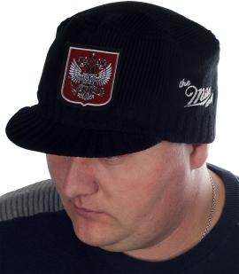 Патриоты России, специально для Вас! Мужская шапка Miller Way с вышитым серебряной гладью Гербом РФ. Стиль милитари к лицу любому парню и мужчине