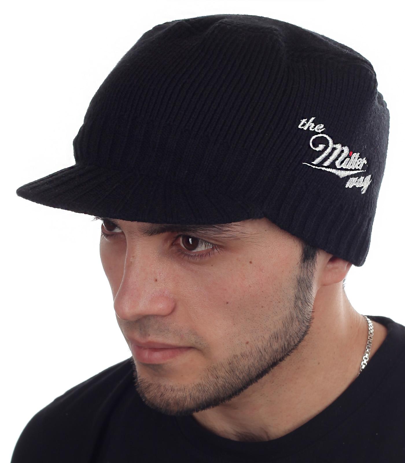"""Мужская вязаная шапка с козырьком """"Miller Way"""""""