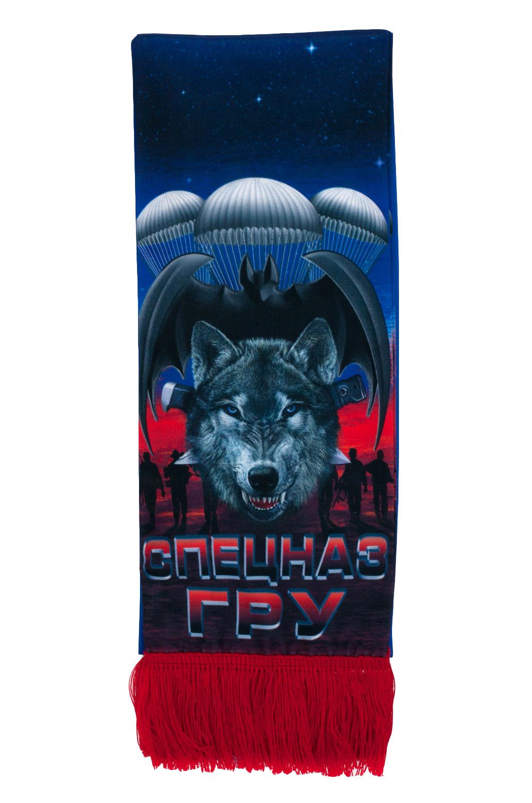 """Шёлковый шарф """"Спецназ ГРУ"""" с волком от Военпро"""