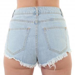 Женские джинсовые шорты с бахромой