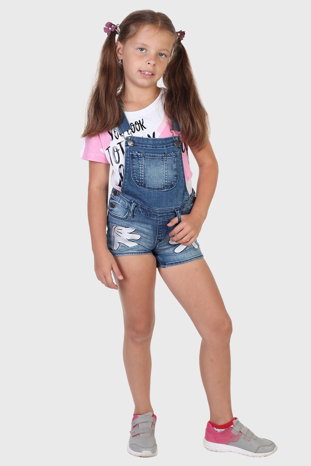 Детские джинсовые шорты комбинезон Minnie