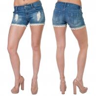 Женские джинсовые шорты Livex Jeans с бахромой и ажурными рюшами.