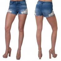Женские джинсовые шорты No Boundaries с аппликацией и бахромой.