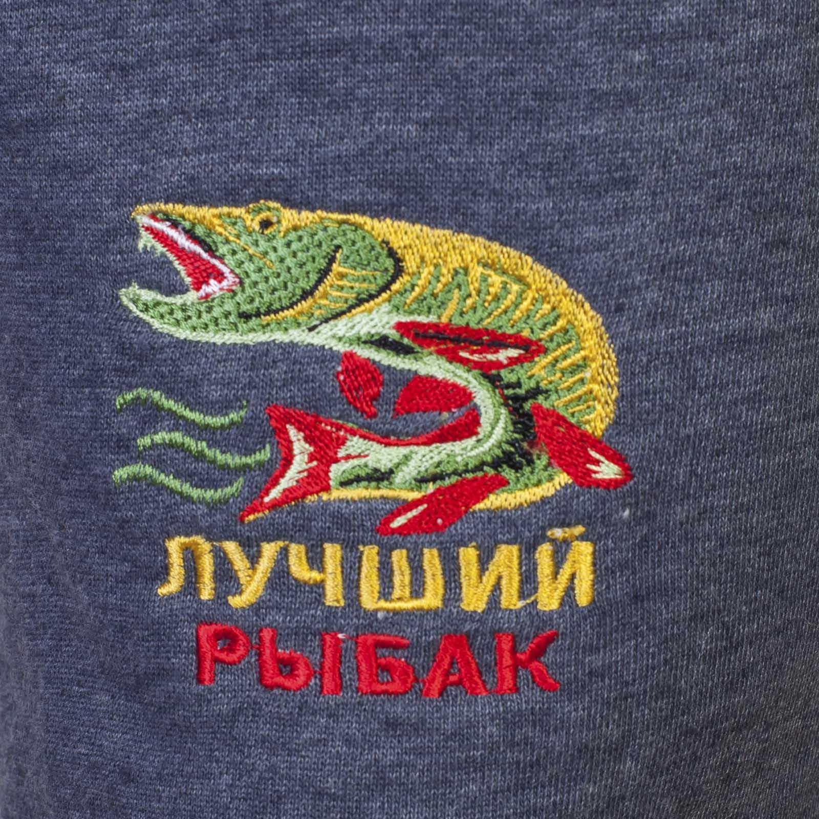 Мужские шорты с яркой вышивкой Лучший Рыбак