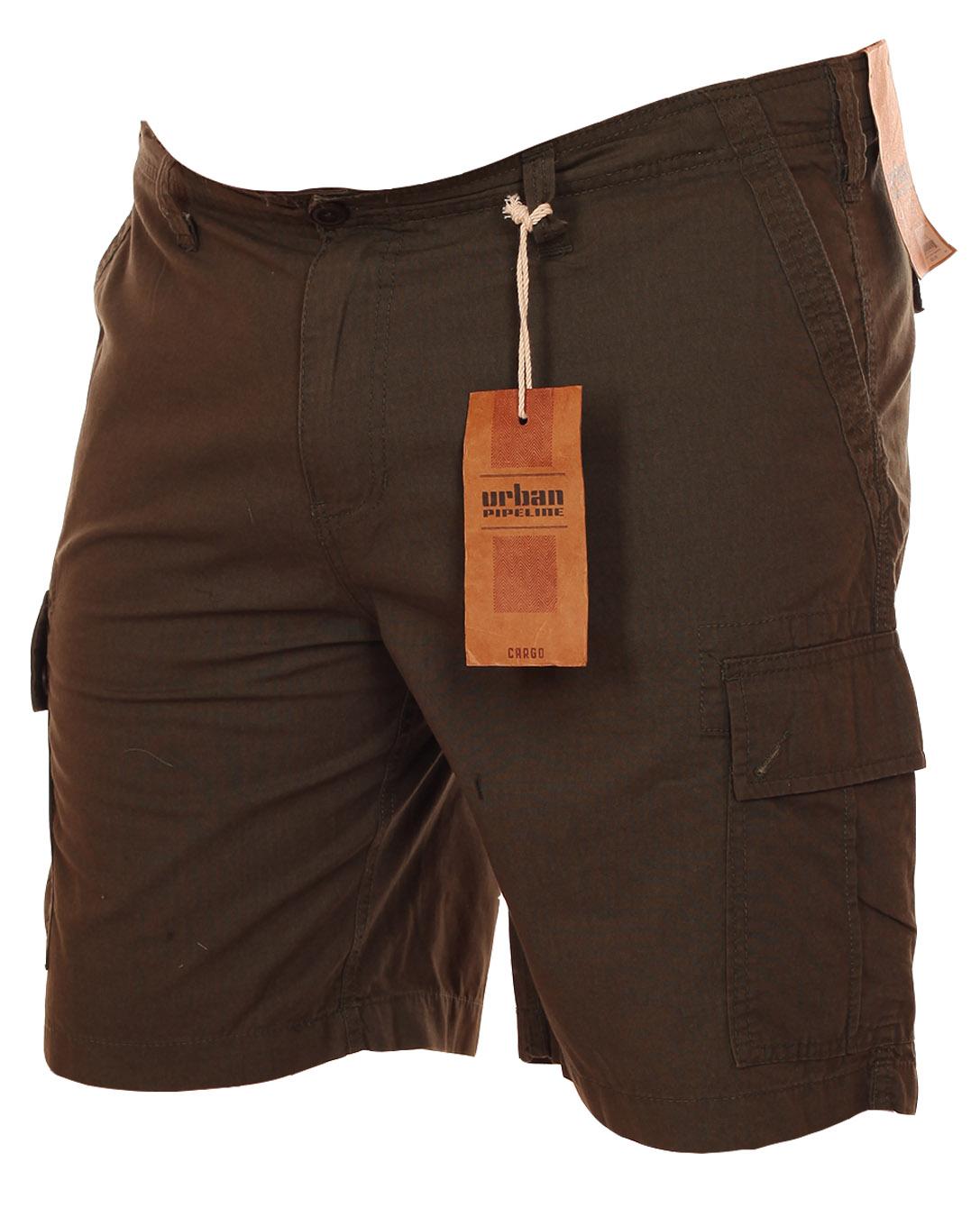 Купить шорты цвета хаки для супер мужчин - баталы от Urban Pipeline