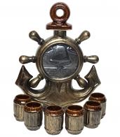 Коллекционный керамический штоф с рюмками Якорь
