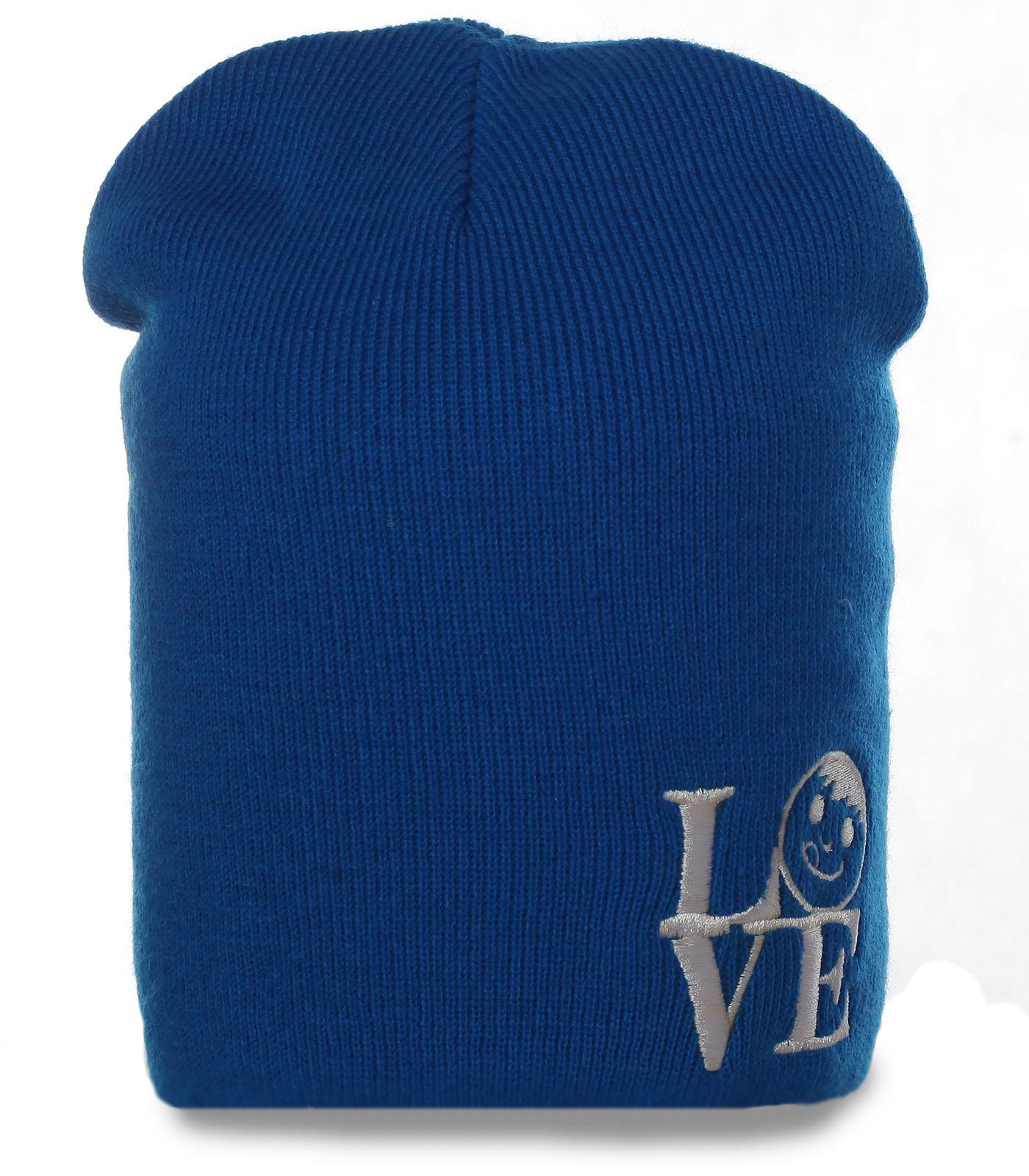 Симпатичная синяя мужская шапка формы бини последняя модная тенденция