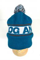 Сине-белая шапка с цветным помпоном