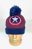 Сине-красная шапка с помпоном и звездой